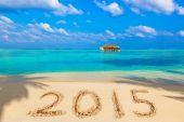 Numbers 2015 on beach — Stock Photo