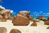 Tropická pláž na seychely — Stock fotografie