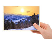 Mountains sunset (Austria) photography in hand — Stock Photo