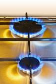 Flames of gas - kitchen stove — Stock Photo