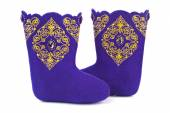 Felt boots with ornament — Stock Photo