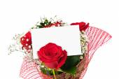 Roses bouquet and paper card — Stock Photo