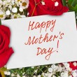 Roses bouquet and card for Mother — Stock Photo #62653207