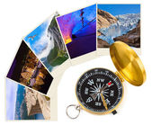 Norway travel images and compass (my photos) — Stock Photo