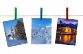 Las montañas de Austria esquí fotografía de pinzas para la ropa — Foto de Stock