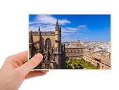 Sevilla Spain photography in hand — Stock Photo