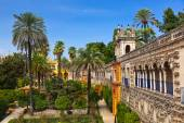 Real Alcazar Gardens in Seville Spain — Stock Photo