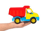 Toy car truck in hand — Stock Photo