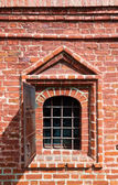 Old window in brick wall - Krutitskoe Compound in Moscow Russia — Stock Photo