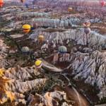 Hot air balloon flying over Cappadocia Turkey — Stock Photo #75071441