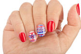 Finger nail with pattern — Stock Photo