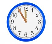 Clock made of money coins — Stock Photo