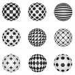 Black and white 3D patterned sphere vector design elements. — Stock Vector #55257247
