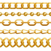 Seamless golden chains template — Stock Vector