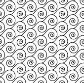 Seamless black and white wave swirl vector pattern. — Stockvector