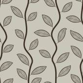 Seamless retro styled brown leaves vector wallpaper pattern. — Vector de stock