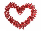 Big heart shape made of small red hearts Valentines day backgrou — Foto de Stock