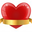 Red glossy heart with golden banner vector illustration. — Stock Vector #63342679