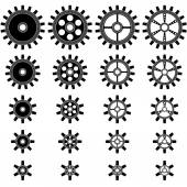 Gear wheels shapes of different sizes vector shapes — Stock Vector