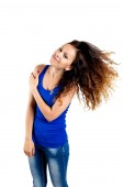 Beautiful brunette flipping hair — Stock Photo