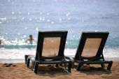 Two sun loungers — Stock Photo