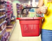 Female with shopping cart — Foto Stock