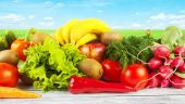 Fruits and vegetables on  table — Stock Photo