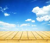 Wooden planks oversky — Stock Photo