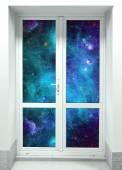 Door on Wall and cosmos — Stock Photo