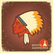Native American man portrait — Vecteur