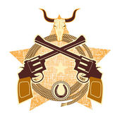 WEstern symbol with guns and bull skull — Stock Vector