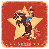 Cowboy riding rodeo with horse — Stock Vector