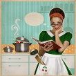 Young pretty housewife cooks in the kitchen.Retro card on old pa — Stock Photo #54173959