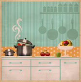 Kitchen interior collage.Retro card on old paper — Stock Photo
