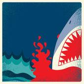 Shark jaws poster.Vector danger background — Stock Vector