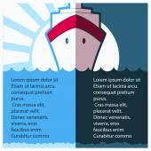 Cruise ship liner in blue sea.Vector illustration — Stock Vector