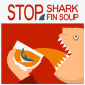 Stop shark fin soup.Vector symbol poster with man head eating  — Stock Vector