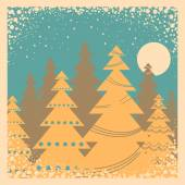 Vintage winter card illustration with snow frame   — Stok Vektör