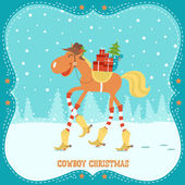 Christmas card with horse in cowboy hat and boots — 图库矢量图片