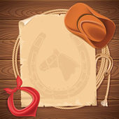 Wild west background with cowboy hat and american lasso on wood  — Stock Vector