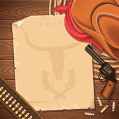Wild west background with cowboy hat and revolver — Stock Vector