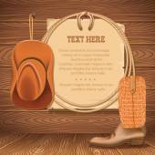 cowboy hat and american lasso.Vector old paper for text on wood — Stock Vector