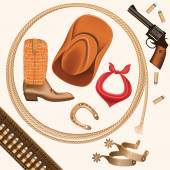 Set of wild west cowboy objects isolated on white — Vector de stock