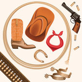 Set of wild west cowboy objects isolated on white — Stockvector