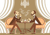 Vector gentlemen talking and drinking alcohol in club — Stock Vector