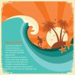 Surfer and sea big wave tropical island on old paper — Stock Vector #69404601