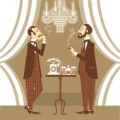 Gentlemen in club.Vector illustration — Stock Vector
