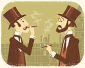 Gentlemen in bowler hats.Vintage London background — Stock Vector