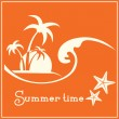 Summer time graphic image with sea wave and tropical palm trees — Stock Vector #70460957
