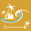 Summer time illustration with sea wave and tropical palm trees — Stock Vector #70465429